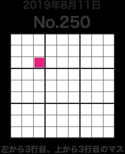 2019年8月11日 No.250 左から3行目、上から3行目のマス
