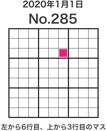 2020年1月1日 No.285 左から6行目、上から3行目のマス