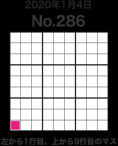 2020年1月4日 No.286 左から1行目、上から9行目のマス