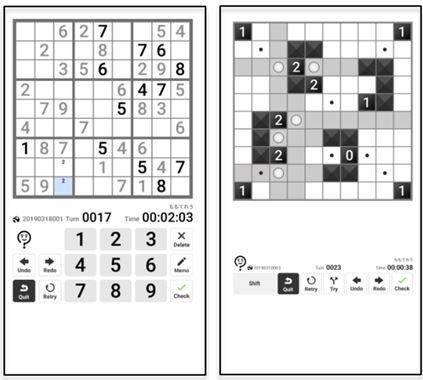 「スマニコリ」で遊べるパズル。左は「数独」の画面イメージ、右は『パズル通信ニコリ』から生まれたパズル「美術館」の画面イメージ。※数独は(株)ニコリの登録商標です。(画像はプレスリリースより)