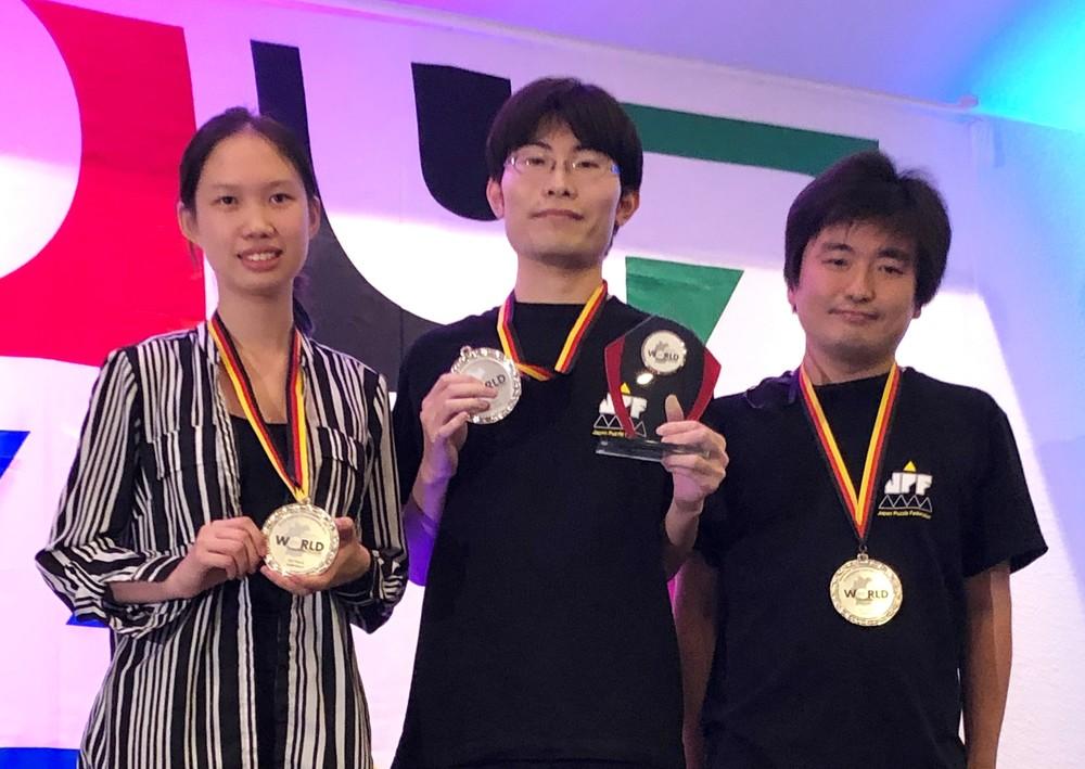 写真左から、森西亨太さん、遠藤 憲さん、Tantan Daiさん(写真提供:日本パズル連盟)