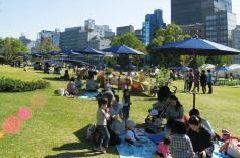 大阪市内のビル群や、水都たる由縁の川を一望できる