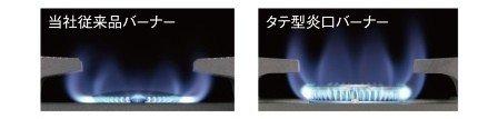 ムダ火を抑制する「タテ型炎口バーナー」