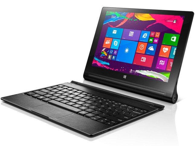 「YOGA Tablet 2」のWindows版10インチモデル。バッテリー部に磁石でくっつくキーボードが付属する