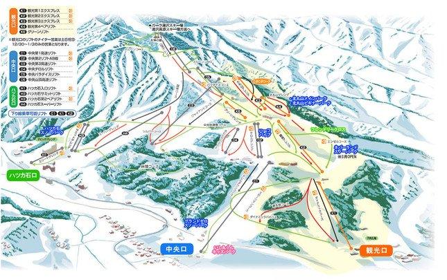 関越道沿線エリアトップクラス 石打丸山スキー場ゲレンデマップ