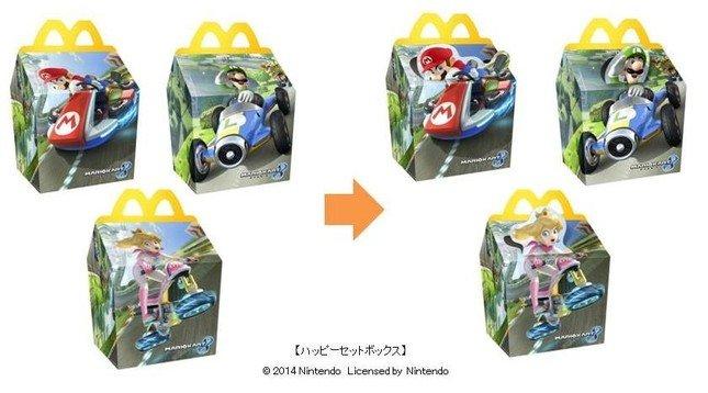 3種類のハッピーセットボックスは上部がポップアップする (C)2014 Nintendo Licensed by Nintendo