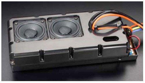 バスレフタイプの樹脂製ボックスに直径57ミリのスピーカーを2個セット