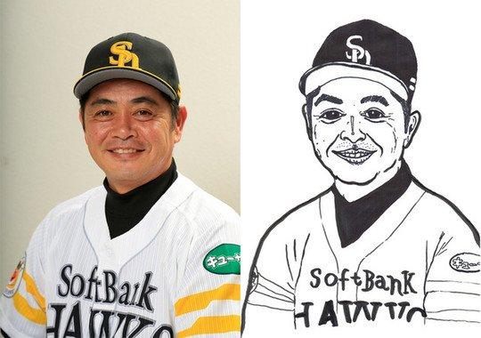 (左)工藤監督近影(右)写真をもとにモンドくんが描き下ろした似顔絵