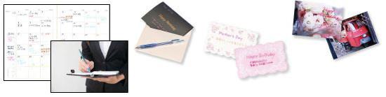 スケジュール帳、メッセージカード、写真のデコレーションなどに
