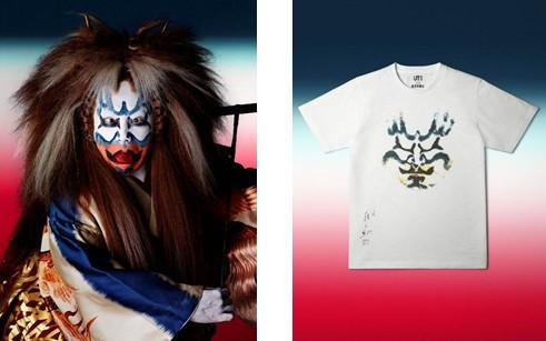 歌舞伎独特の化粧「隈取」デザインのTシャツ