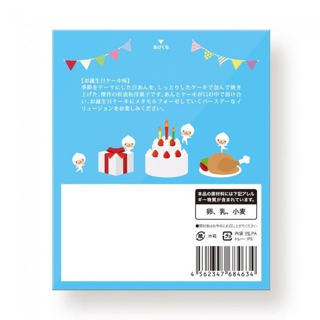 パッケージ裏面には、にぎやかなお誕生日パーティーのイラストが描かれている