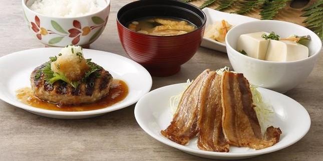 美ら島あぐー豚の焼肉とハンバーグ膳