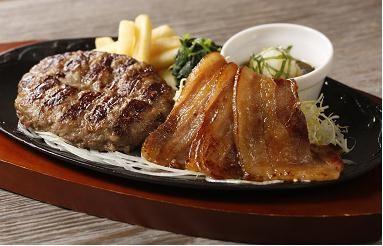 美ら島あぐー豚の焼肉&ビーフ100%ハンバーグ