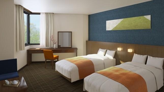 フロントとホテル外観のイメージ