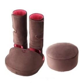 ブーツのようにひざ下全体に巻き付けて装着するだけ(写真は、「mashua AM‐30 フットエアーマッサージャーF」ショコラ)