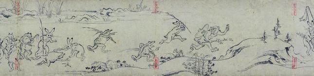国宝鳥獣人物戯画甲巻(部分)後期展示 京都・高山寺所蔵