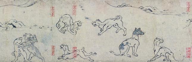 国宝鳥獣人物戯画乙巻(部分)前期展示 京都・高山寺所蔵