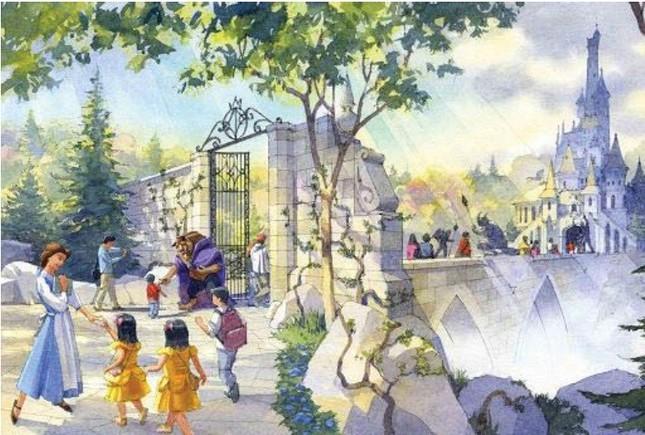 TDRのファンタジーランド「美女と野獣」をテーマにしたエリアのイメージ(C)Disney