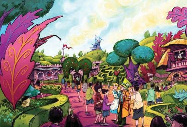 TDRのファンタジーランド「ふしぎの国のアリス」をテーマにしたエリアのイメージ (C)Disney