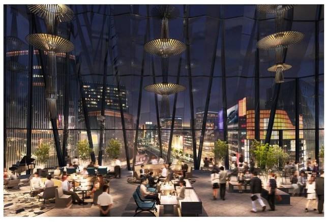 「江戸切子」モチーフにしたガラスの内部から夜景を楽しむことができる