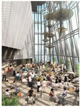 高さ約27メートルの大吹抜け空間のアトリウム
