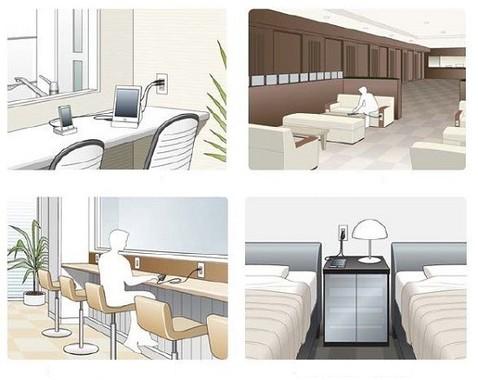 設置イメージ。(左上から時計回りで)キッチンカウンター、待合室・ロビー、カフェなどのカウンター席、ホテルなどのベッド周辺