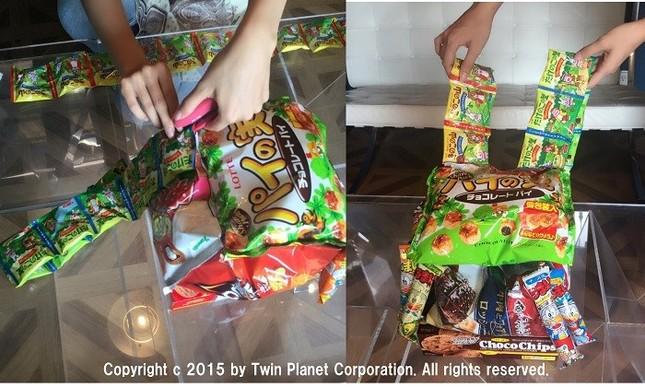 ショルダー部分は小分けのお菓子を繋ぎ合わせ…完成へ→最初の写真へ