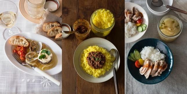(左から)アクアパッツァ、キーマカレーとサフランライス、海南鶏飯と玉ねぎのタイ風スープ