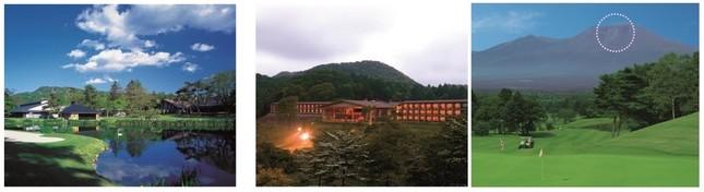 (左から)軽井沢プリンスホテルウエスト、軽井沢浅間プリンスホテル、浅間山のハートマーク
