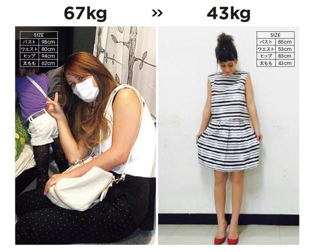 著書では67キロあった時代の写真を、43キロまでダイエットした時のものと並べて掲載