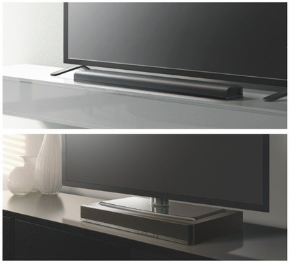 上、フロントサラウンドシステム「YAS-105」の設置イメージ/下、テレビサラウンドシステム「SRT-700」の設置イメージ