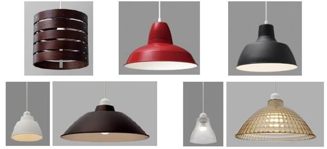 インテリアにあわせて、好みの「あかり」を選べる「LEDペンダントライト」シリーズ(写真は上段左から、「Runda」「Dibase」「Gammel」下段左から、「Gammel Plas S」「Gammel Plas M」「Lapin S」「Lapin M」)