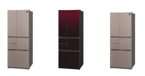 インテリア性を高めた「キッチンファニチャーデザイン」を採用!(写真は左から、「SJ‐GT55B‐T」サテンブラウン、「SJ‐GT50B‐R」グラデーションレッド、「SJ‐GT47B‐T」サテンブラウン」)
