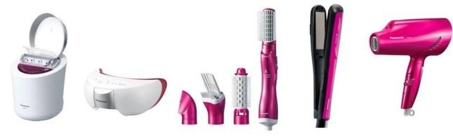 パナソニック美容機器の…(左から)スチーマーナノケア、目もとエステ、くるくるドライヤーナノケア、ストレートアイロンナノケア、ヘアードライヤーナノケア