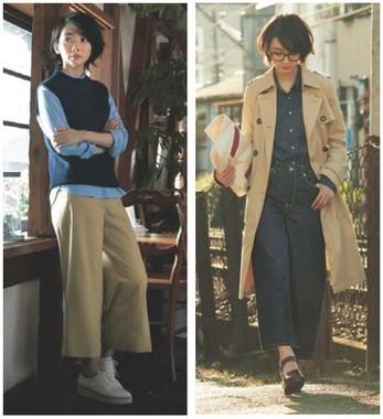モデル、波瑠さん。(左)秋はニットベストをシャツとのレイヤードで着こなして。シャツの袖まくりで抜け感を忘れずに!=メランジニットベスト990円、オックスフォードシャツ1490円、ワイドクロップドパンツ1990円 トータル4470円/(右)トレンドのデニムonデニムコーデも、秋はインディゴをチョイス! ロング丈のコートには、トップスをinして全体のバランスを取って。=トレンチコート3990円、デニムシャツ1990円、デニムワイドクロップドパンツ1990円 トータル7970円