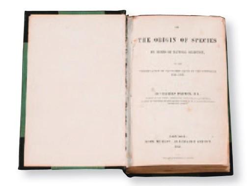 チャールズ・ダーウィン「種の起源」、ロンドン、1859年、初版