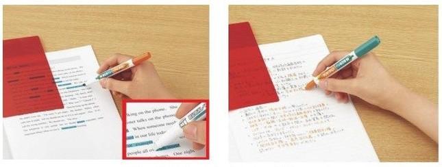 (左)緑マーカー (右)オレンジペン