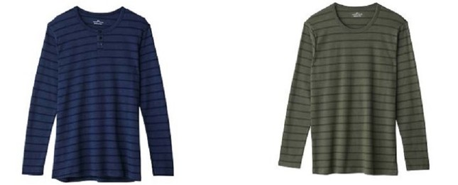 ヘンリーネックロングスリーブシャツ(左)、クルーネックロングスリーブシャツ(右)