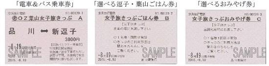 左から「電車&バス乗車券」「選べる逗子・葉山ご飯券」「選べるお土産券」