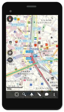 モバイル端末に最適化された見やすい地図アプリ