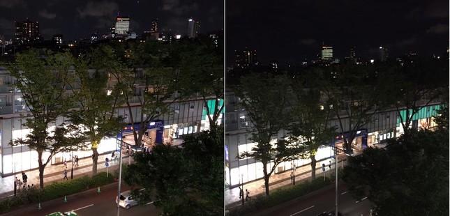 夜景を撮影し比較 (左)Galaxy S6で撮影 (右)他社スマホで撮影