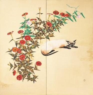 《花に寄る猫》1934(昭和9)年、紙本着色・額、個人蔵(大佛次郎旧蔵)