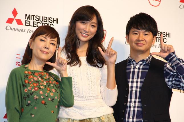 三菱電機「ニクイねぇ!」CMシリーズに出演中の(左から)戸田恵子さん、杏さん、若林正恭さん