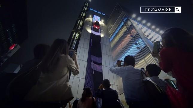 プロジェクト第3弾では、新型Audi TTが銀座ソニービルを駆け下りる映像が撮影された