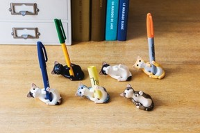 猫がペンをギュッとしてはなさないスタンド 6種類を毎月一つずつお届け