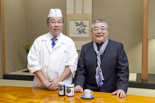 「旬」をテーマに、「つきぢ田村」主人の田村隆さん(左)と、俳優の中尾彬さんが対談