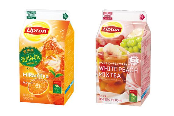 「リプトン みかんティー」(左)と「リプトン ホワイトピーチミックスティー」(右)