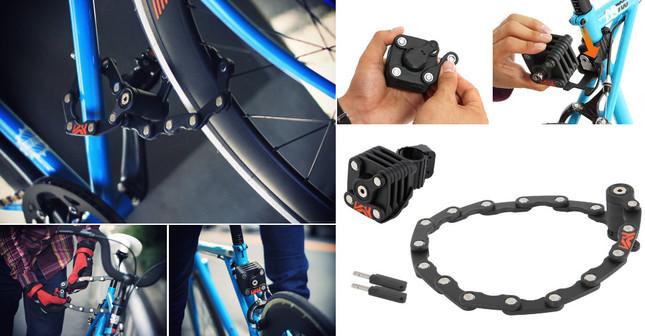手のひらサイズのキューブが自転車をしっかりとロック!