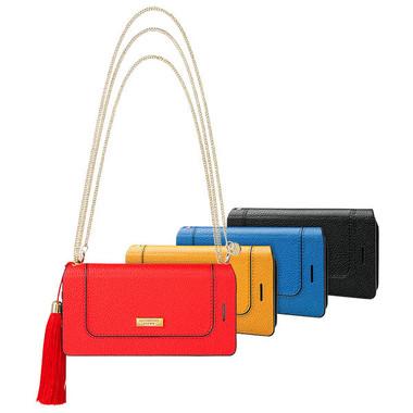 お札やクレカなどの収納スペースも備えるバッグタイプケース