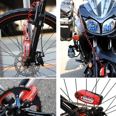 ディスクブレーキを挟み込んで自転車・バイクを施錠する